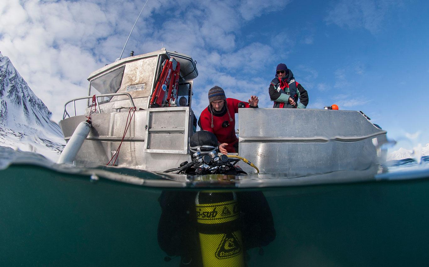 Plongeur au Spitzberg